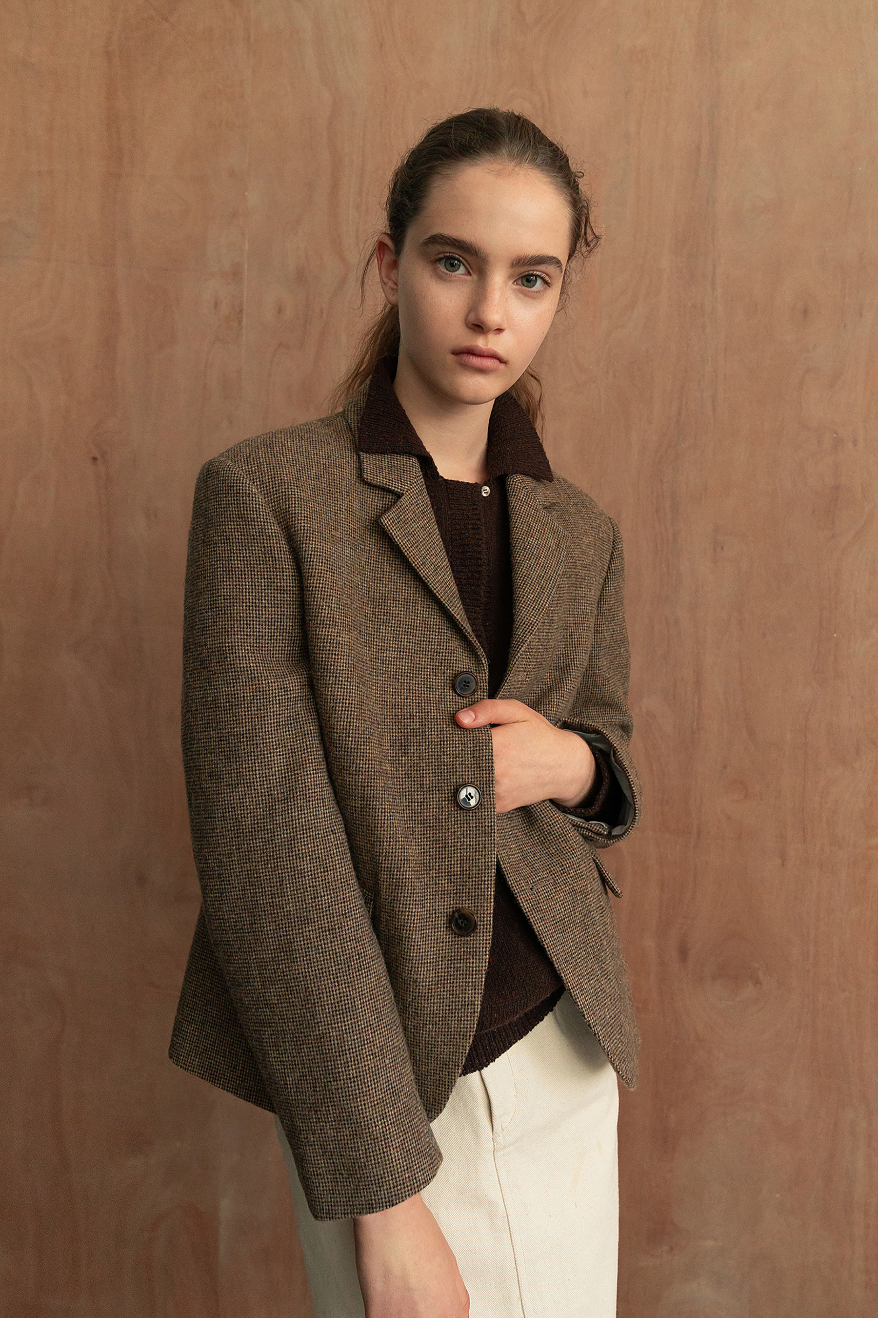 Cropped signature jacket (Brown)