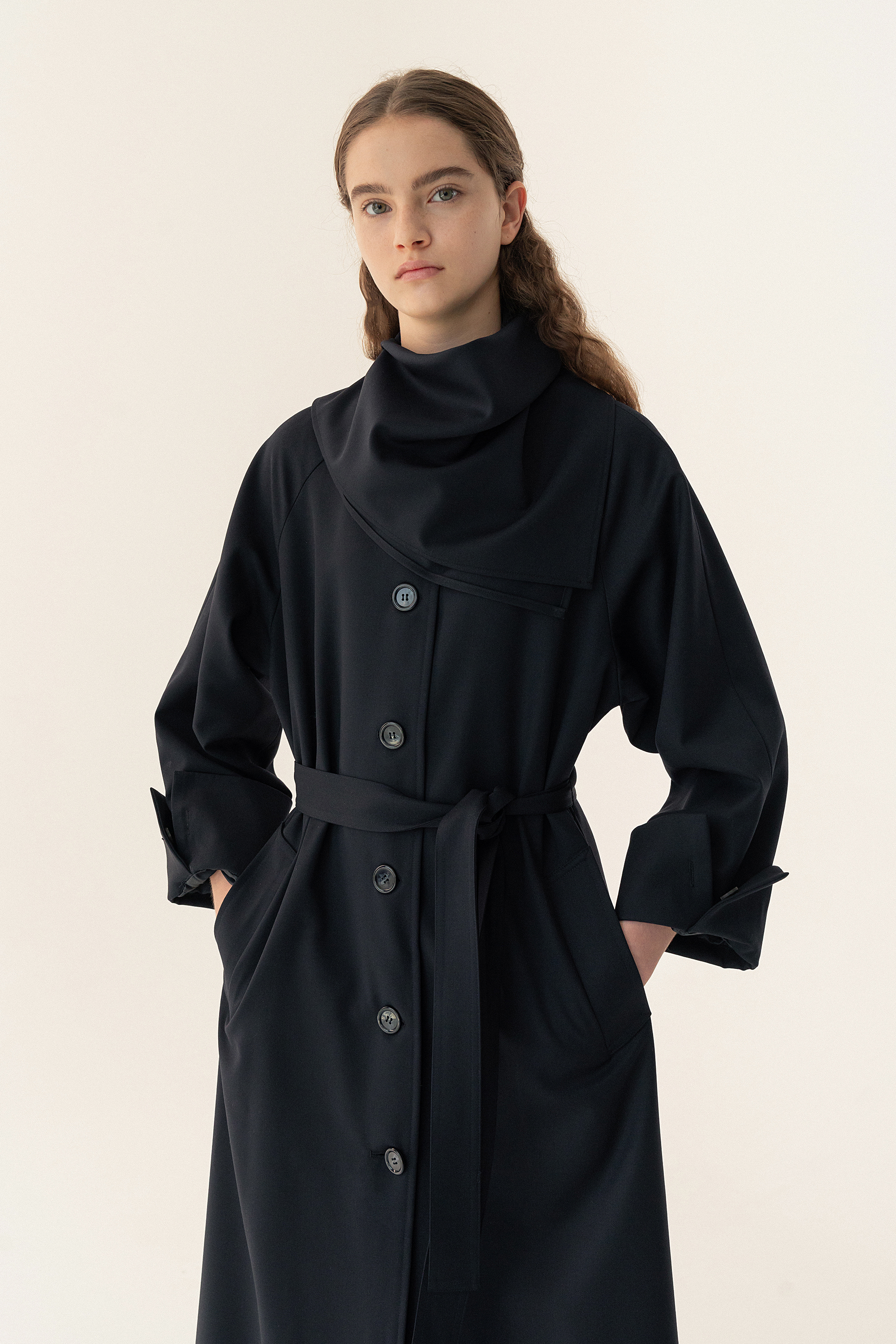 Wool gabardine trench (Dark Navy)