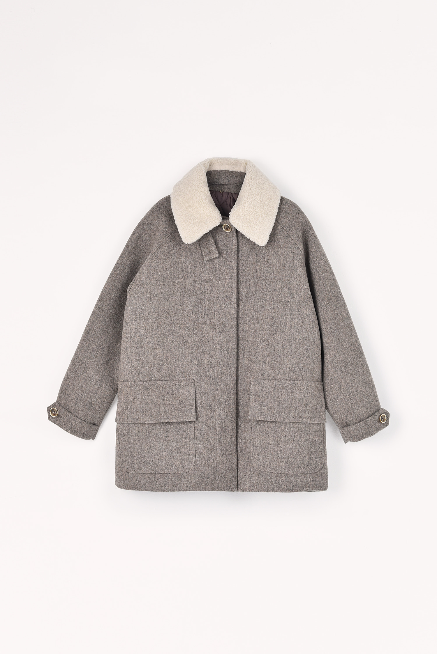 2 RE-ORDER / Thinsulate padded wool coat (Oatmeal grey)