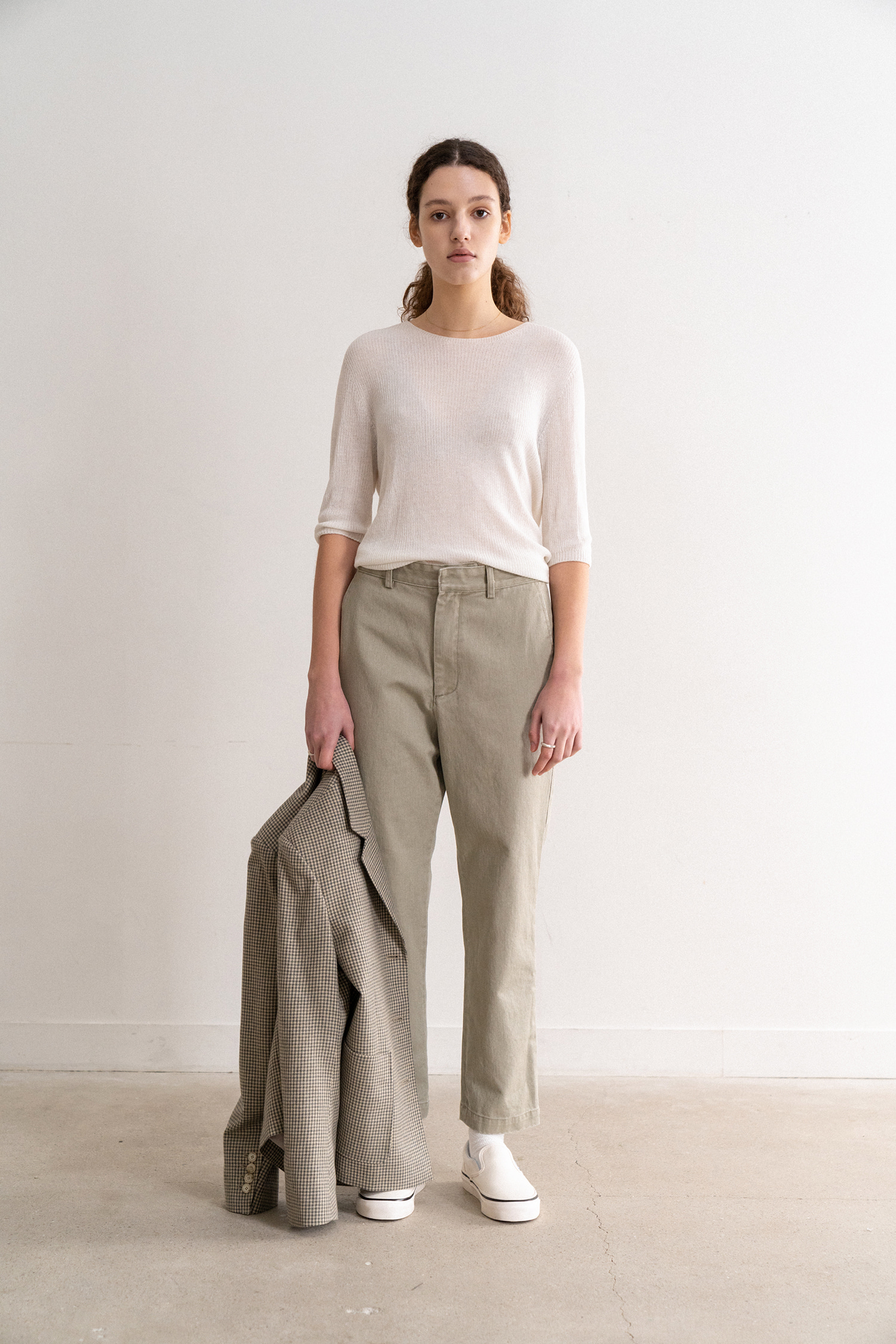 2 re-order / High-Rise Straight Denim (Khaki)