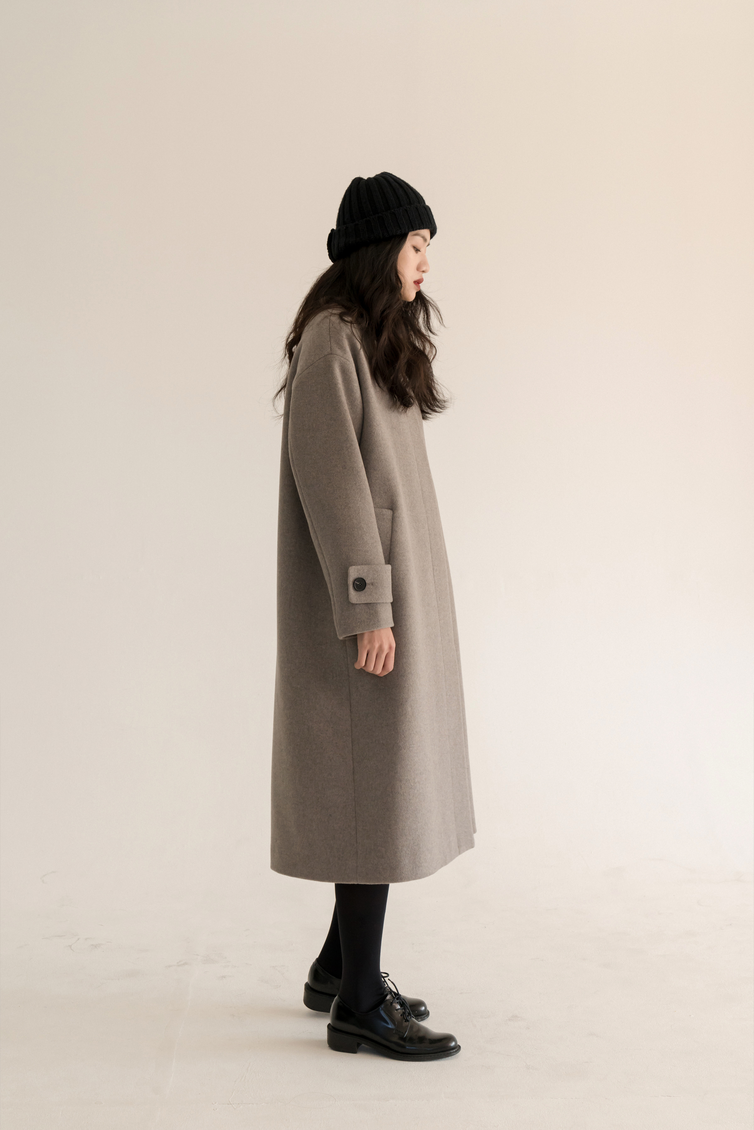 4 RE-OREDER / one button coat ( oatmeal + grey )
