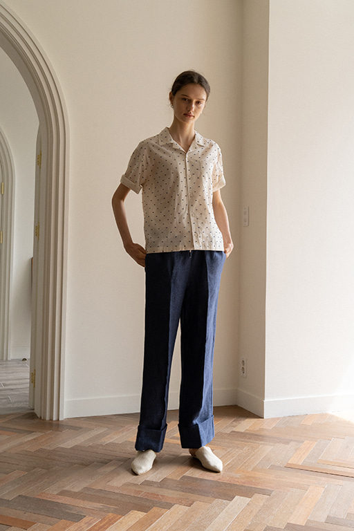 STRING LINEN PANTS (BLUE)