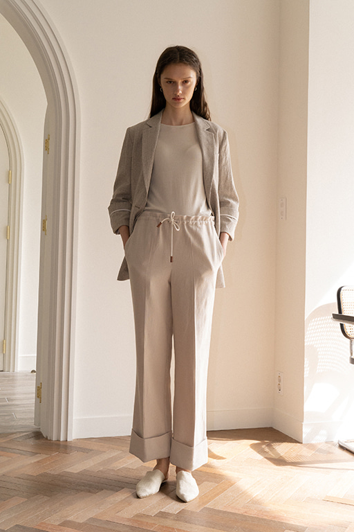 STRING LINEN PANTS (BEIGE)