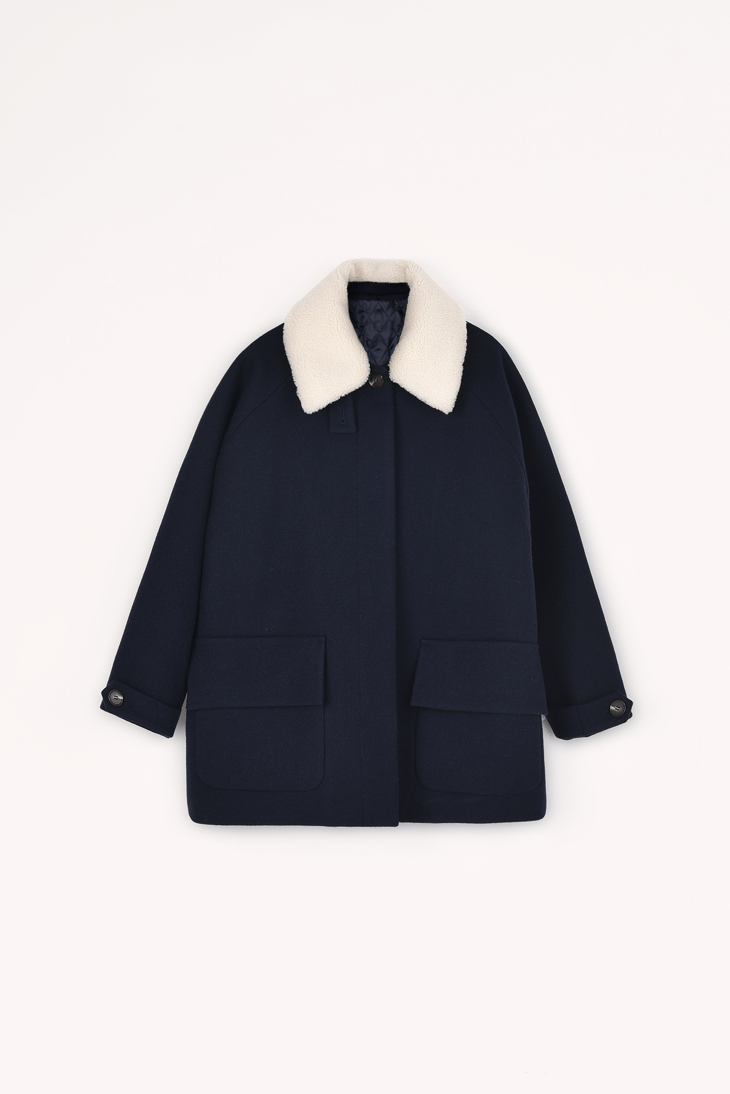 3 RE-ORDER / Thinsulate padded wool coat (Dark navy)