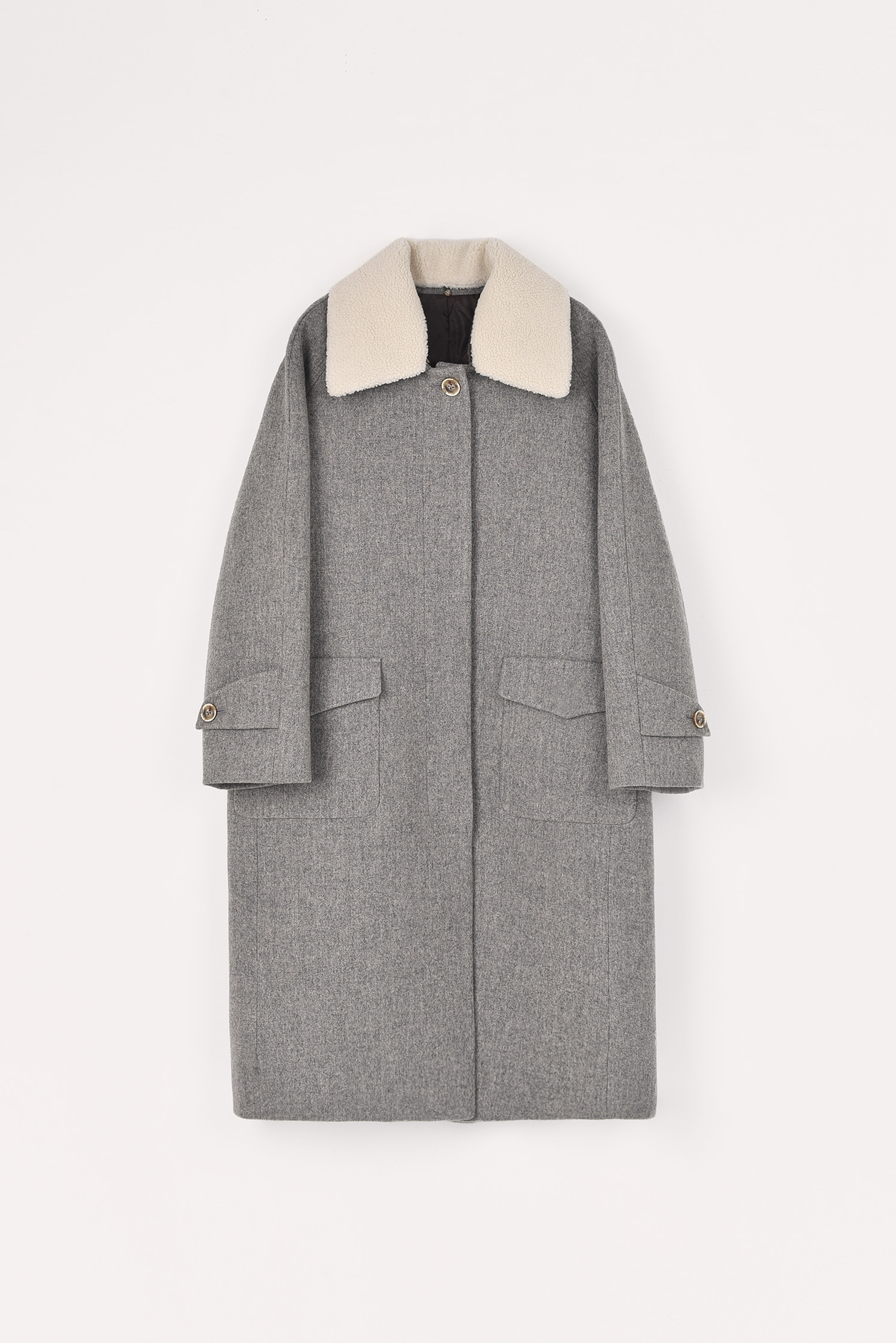2 RE-ORDER / Thinsulate padded wool coat (Long / Oatmeal grey)