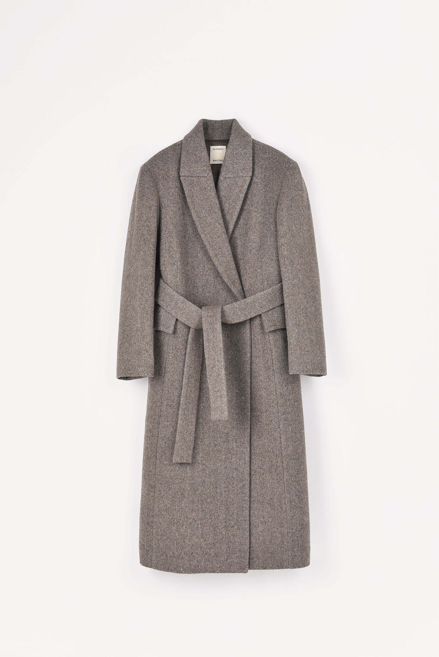 2 RE-ORDER / Belted wool-blend coat (Herringbone brown)
