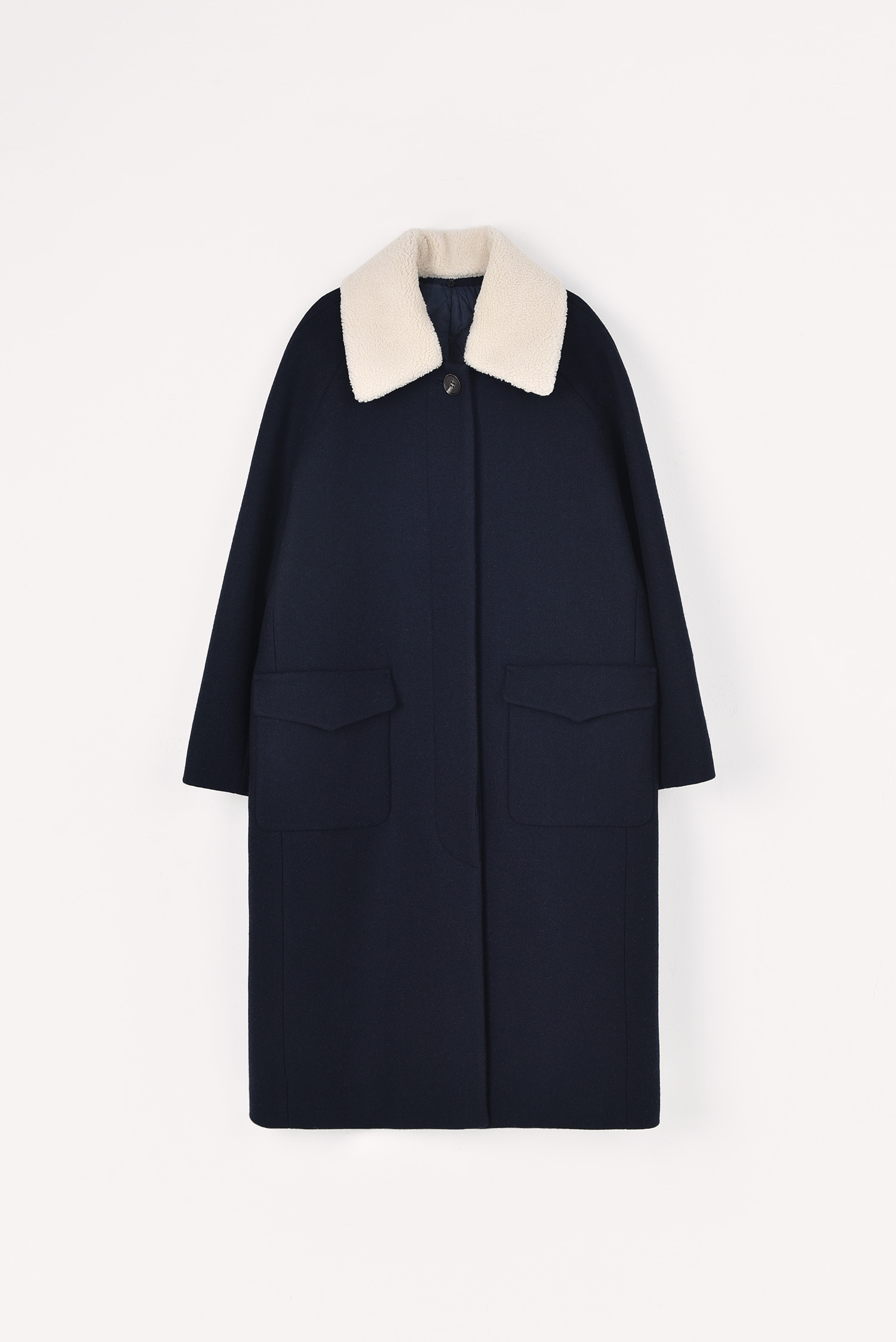 4 RE-ORDER / Thinsulate padded wool coat (Long / Dark navy)