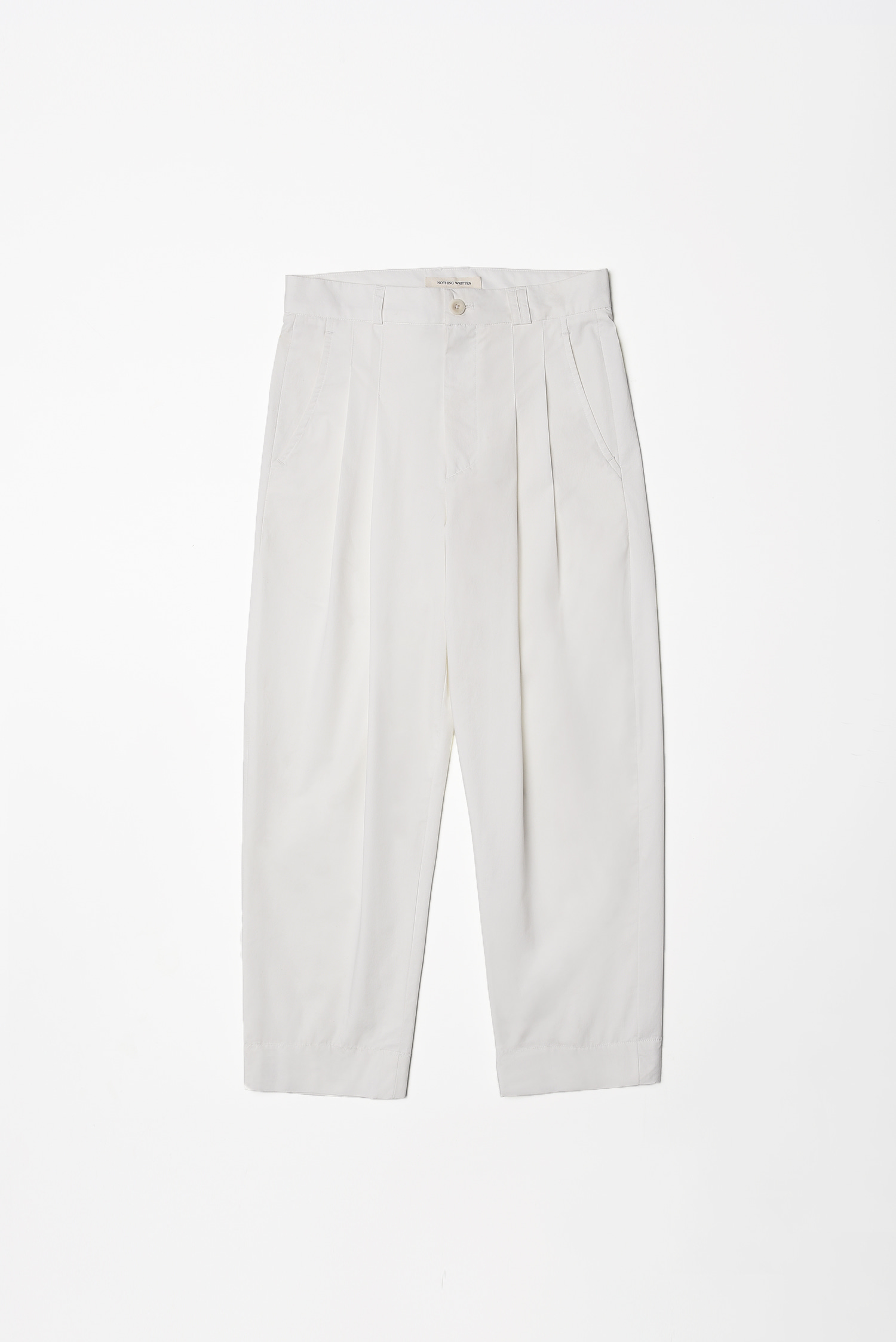 Cotton tuck pants (off white)