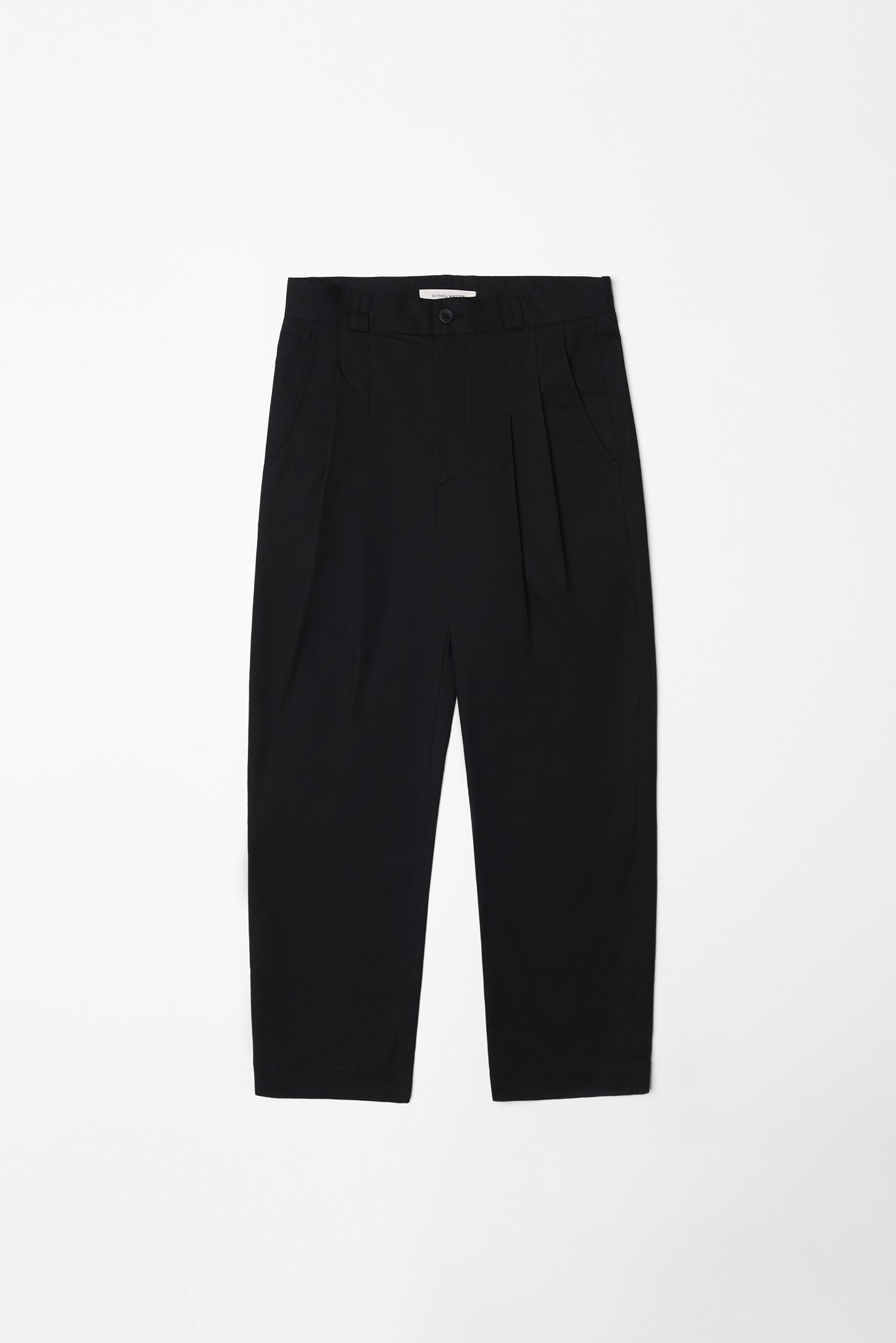 Cotton tuck pants (black)
